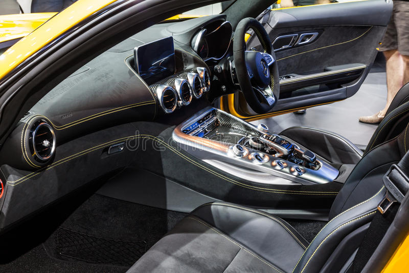 Inside of Mercedes AMG GTS. Nonthaburi,Thailand - March 26th, 2015: Inside of Mercedes AMG GTS on display,showed in Thailand the 36th Bangkok International Motor royalty free stock photography
