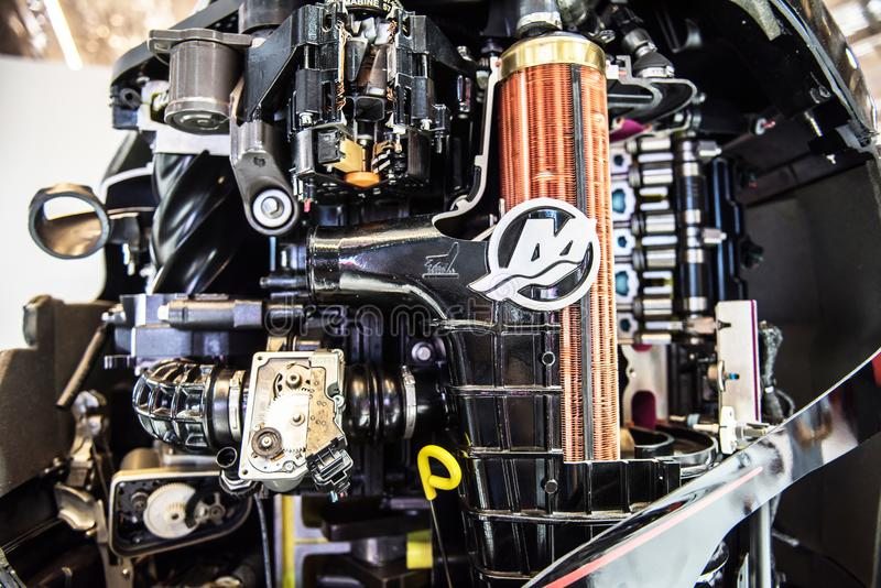 Inside of a Mercury Outboard Motor. Salone Nautico in Genova, Italy 2017. On display big modern last generation Mercury black and powerful speed boat engine, an royalty free stock image