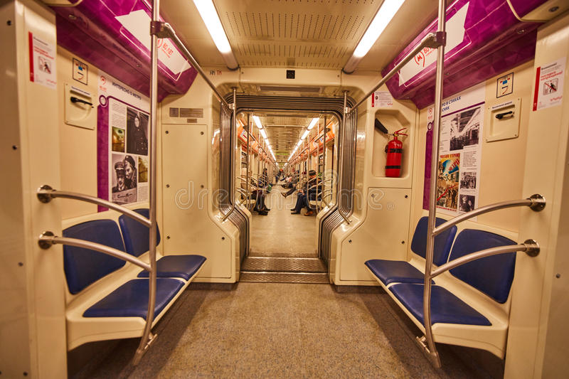 Inside metro wagon in Moscow royalty free stock photos