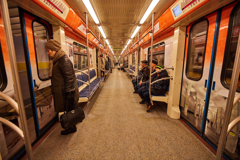 Inside metro wagon in Moscow. Moscow - 10 January 2017: Inside metro wagon in Moscow royalty free stock photo