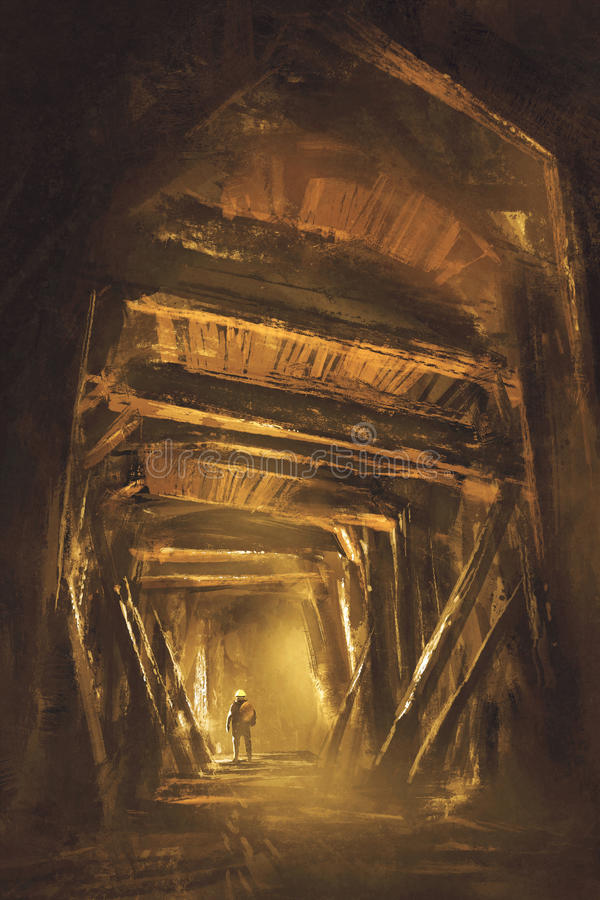Inside of the mine shaft. Illustration,digital painting vector illustration