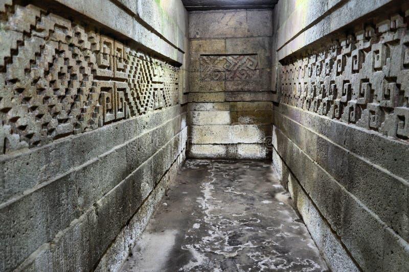 Inside Mitla ruins. Ancient Pyramids of Mitla, Oaxaca Mexico royalty free stock photo