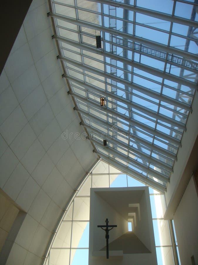 """Inside of the modern church """"Dives in Misericordia"""" of the architecte Richard Meier. Rome. Italy. Moderne church. `Dives in Misericardia` church stock photography"""