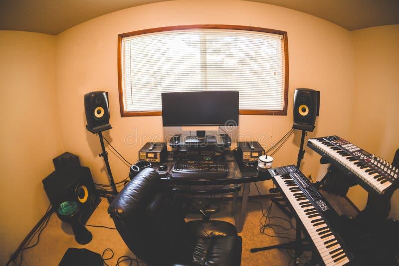 Inside a Modern Home Studio Room stock images