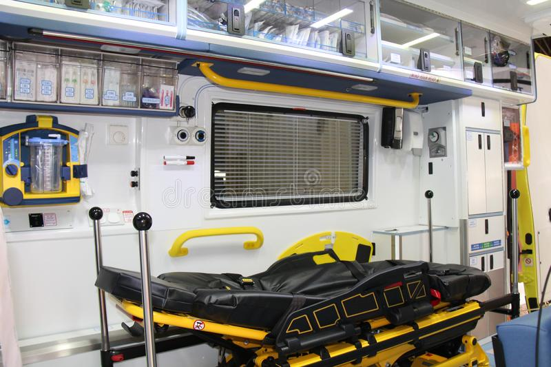 Rescue Ambulance Vehicle. The Inside of a Modern Rescue Ambulance Vehicle stock photography
