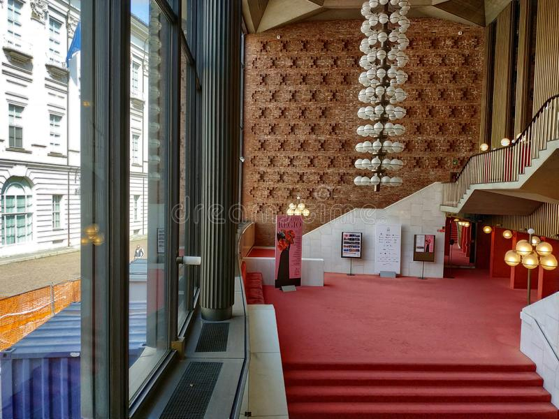 Inside the modern Teatro Regio di Torino the red color dominates everything stock photo