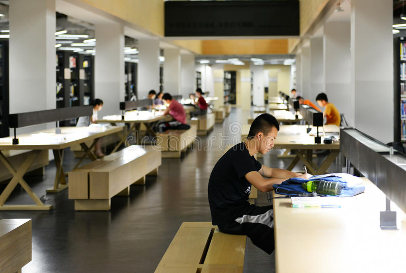 Inside Of Modern University Library, People Reading And Studying In ...