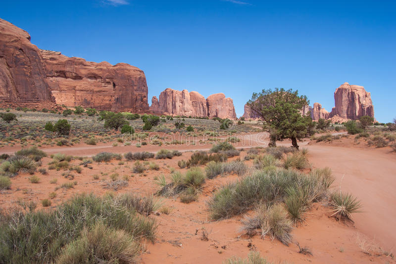 Inside of Monument Valley in Navajo Nation Reservation between Utah and Arizona stock images
