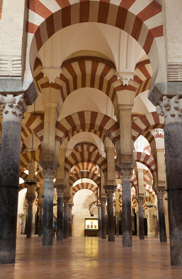 Inside the Mosque-cathedral of Cordoba. Andalucia, Spain royalty free stock image