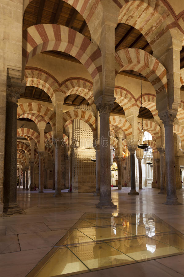 Inside the Mosque-cathedral of Cordoba. Andalucia, Spain royalty free stock photos