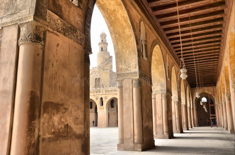 Inside the mosque of Ibn Tulun stock photography