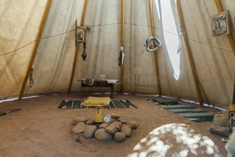 Inside native american Teepee Bluff Fort visitor centre Bluff Utah. The original Bluff Fort has been rebuilt and lovingly restored through the efforts of the stock photos