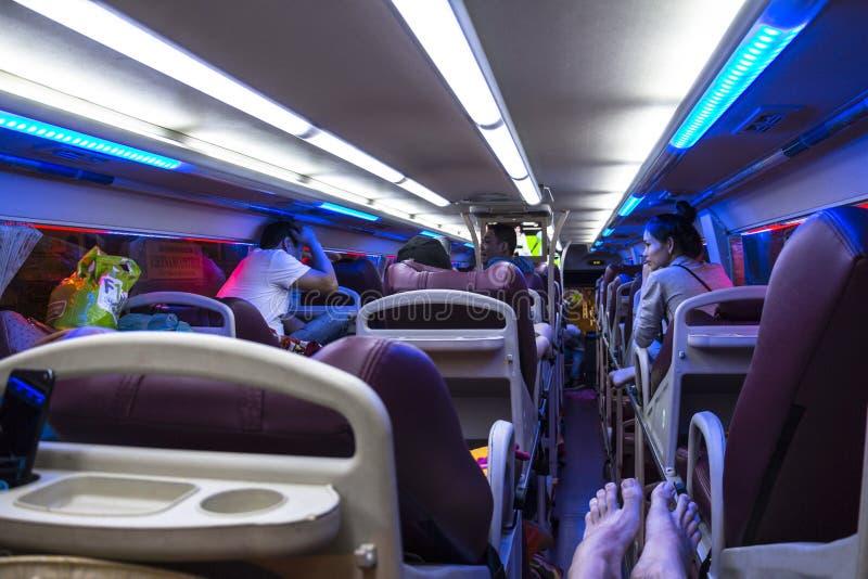 Inside noc autobus Wietnam zdjęcia royalty free