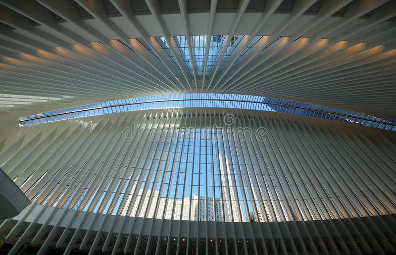 Inside the Oculus of the New World Trade Center Transportation Hub designed by Santiago Calatrava royalty free stock photography