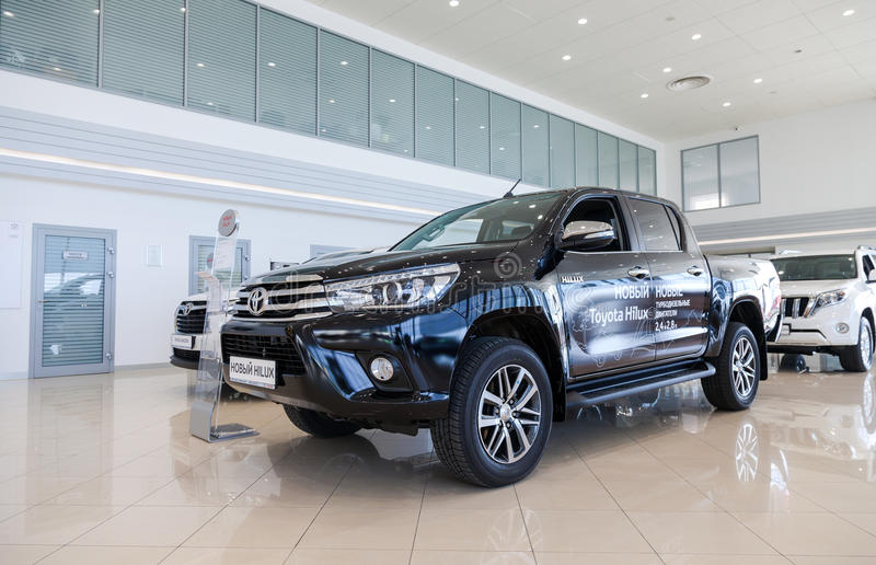 Inside in the office of official dealer Toyota stock photo