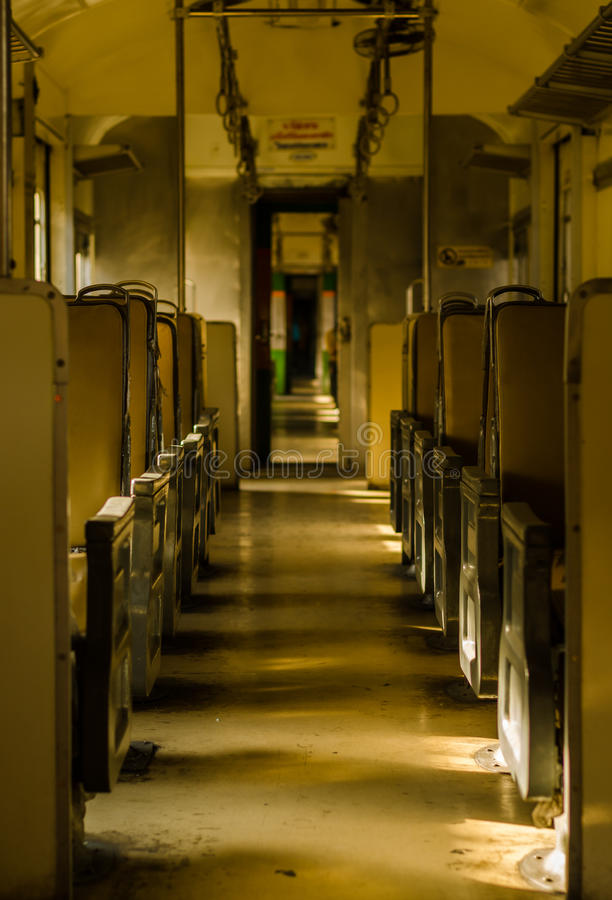 Inside of old bogie on train royalty free stock photo