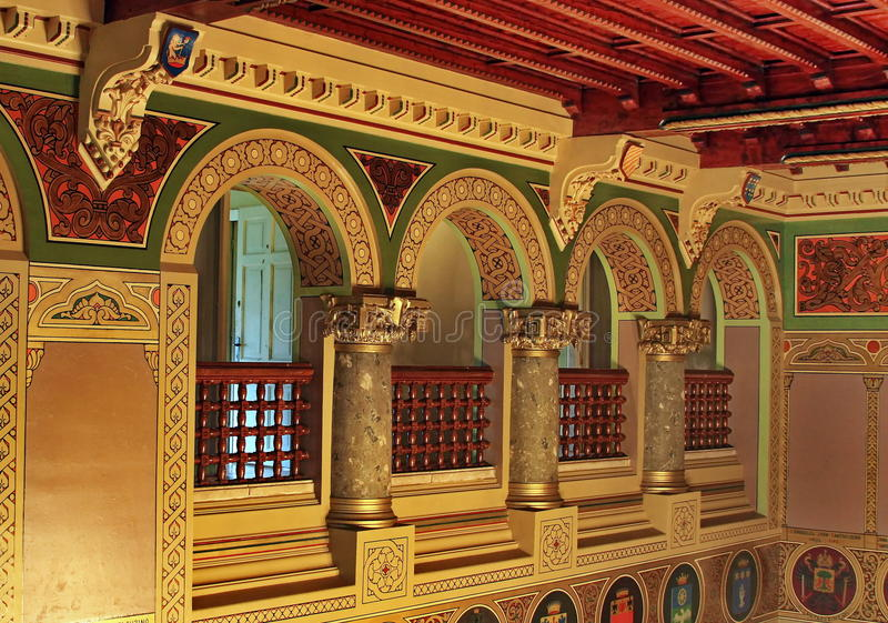 Inside old castle. Colored beautiful detail inside old romanian castle stock photos