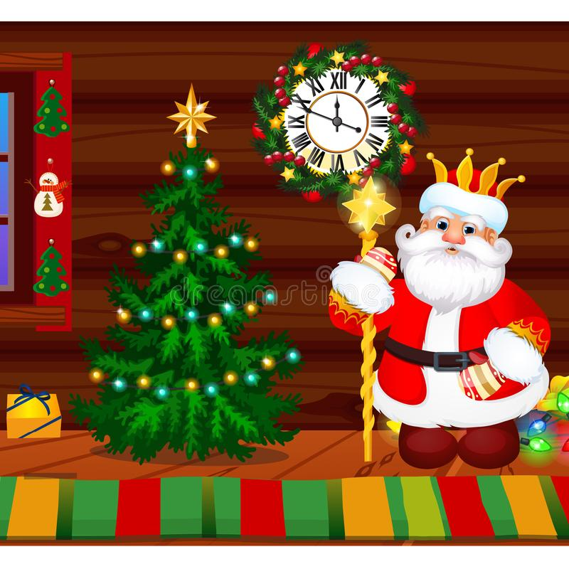 Inside the old cozy wooden village house. Home furnishings. Christmas tree, Santa Claus, baubles. Sample of poster stock images