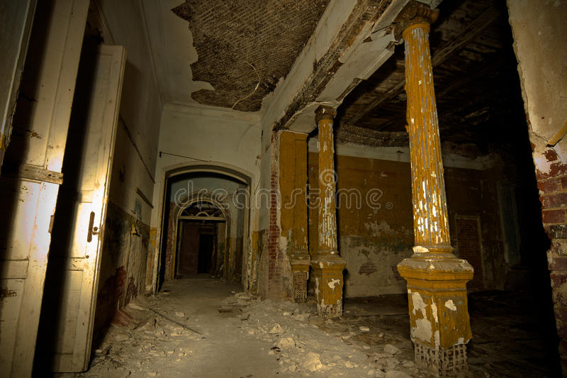 Inside of old creepy abandoned mansion. Former manor of Karl von Meck stock photo