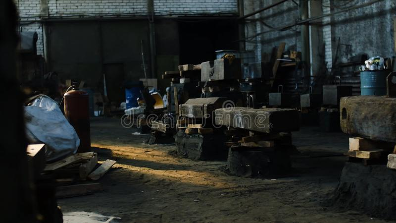 Inside the old factory. Stock footage. Industrial building room inside interior, dark dirty grunge and creepy atmosphere.  stock photo