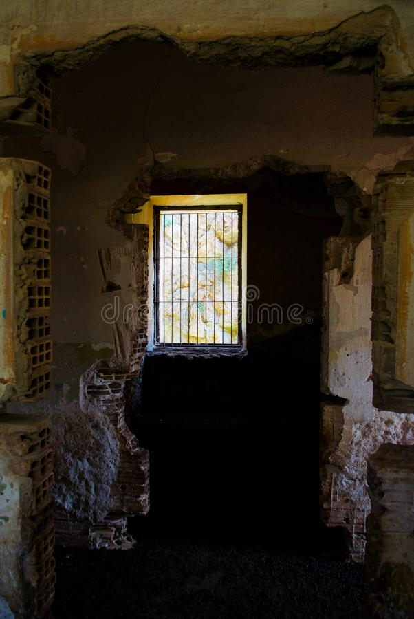 Interior Italian Military Structure, Cape of Diaporo, Leros, Greece. Inside an old Italian military structure with wall paintings made by stationed German stock images