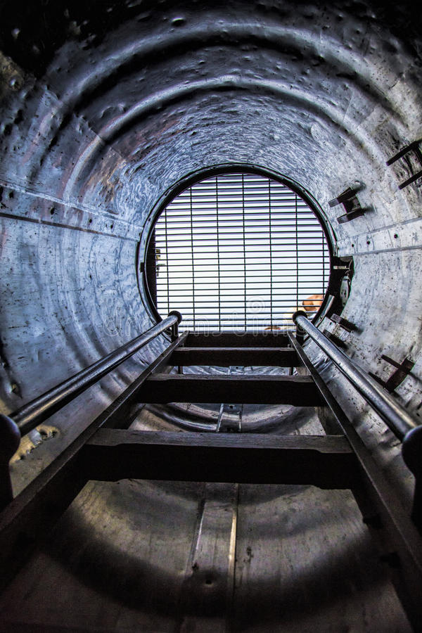 Inside an Old Submarine stock image