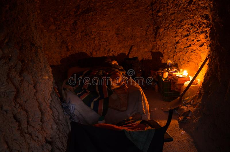 Inside one of the Sacromonte Caves in Granada, Spain.  stock photography