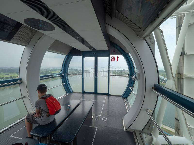 Inside one Singapore Flyer capsule. Singapore - August 20 2018: The Singapore Flyer is a giant Ferris wheel which opened in 2008 in Singapore stock photos