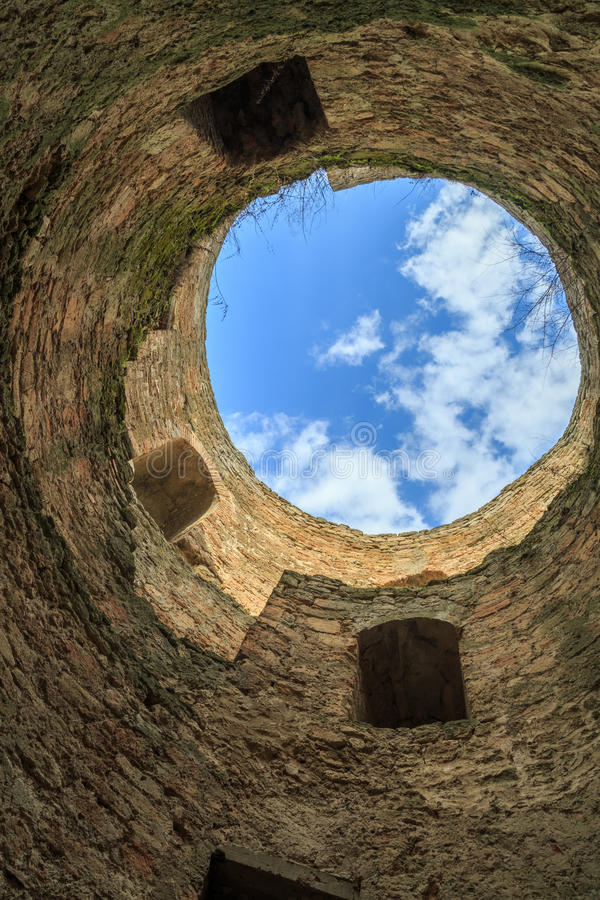Inside one of the towers of citadel in Akkerman fortress in Belg. Orod-dnestrovskiy, Odessa, Ukraine royalty free stock images