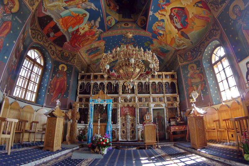 Interior of orthodox church - Bujoreni Monastery, Vaslui County, landmark attraction in Romania. Interior of orthodox church, through a fisheye lens - Bujoreni stock photos