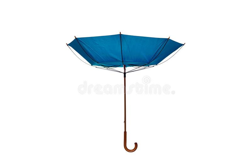Inside Out Blue Umbrella Center on White Background. Inside Out Blue Umbrella with Wooden Curved Handle Center on White Background stock photography