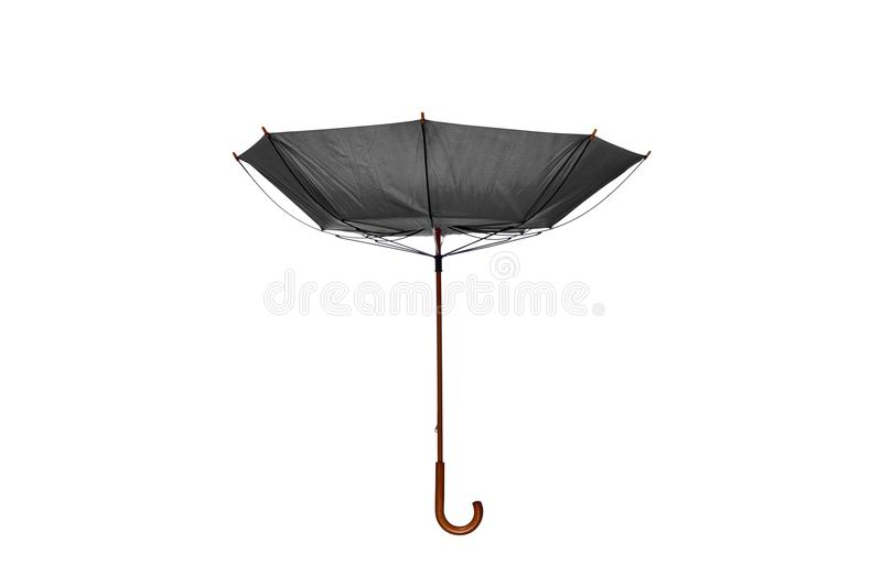 Inside Out Gray Umbrella Center on White Background. Inside Out Gray Umbrella with Wooden Curved Handle Center on White Background stock photos