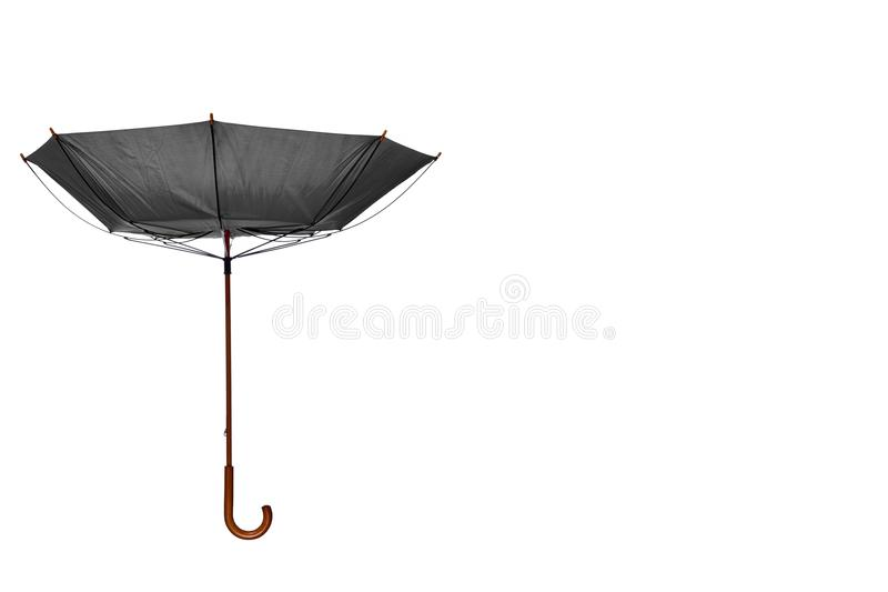 Inside Out Gray Umbrella Off Center on White Background. Inside Out Gray Umbrella with Wooden Curved Handle Off Center on White Background royalty free stock photos
