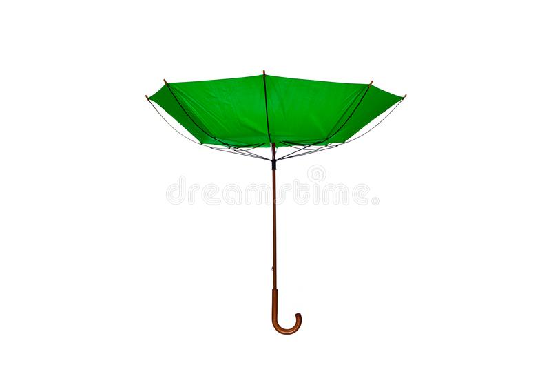 Inside Out Green Umbrella Center on White Background. Inside Out Green Umbrella with Wooden Curved Handle Center on White Background stock photos
