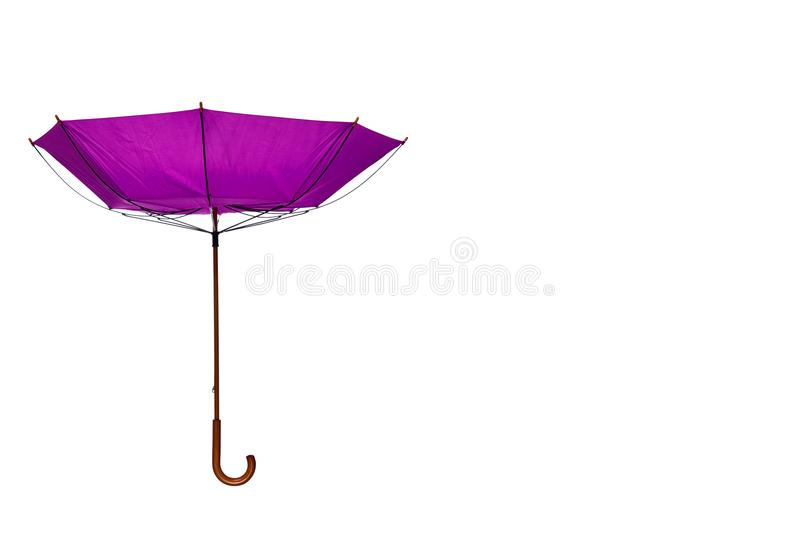 Inside Out Purple Umbrella Off Center on White Background. Inside Out Purple Umbrella with Wooden Curved Handle Off Center on White Background stock photography
