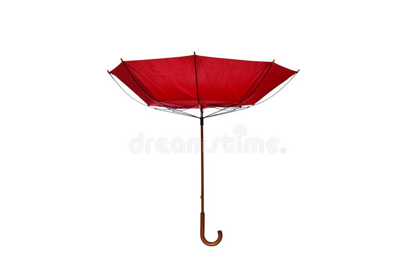 Inside Out Red Umbrella Center on White Background. Inside Out Red Umbrella with Wooden Curved Handle Center on White Background stock image
