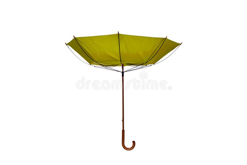Inside Out Yellow Umbrella Center on White Background. Inside Out Yellow Umbrella with Wooden Curved Handle Center on White Background royalty free stock images