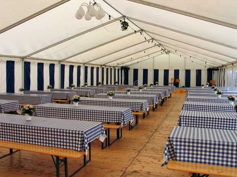 Inside a party tent. Inside view of a party events wedding celebration banquet tent stock images