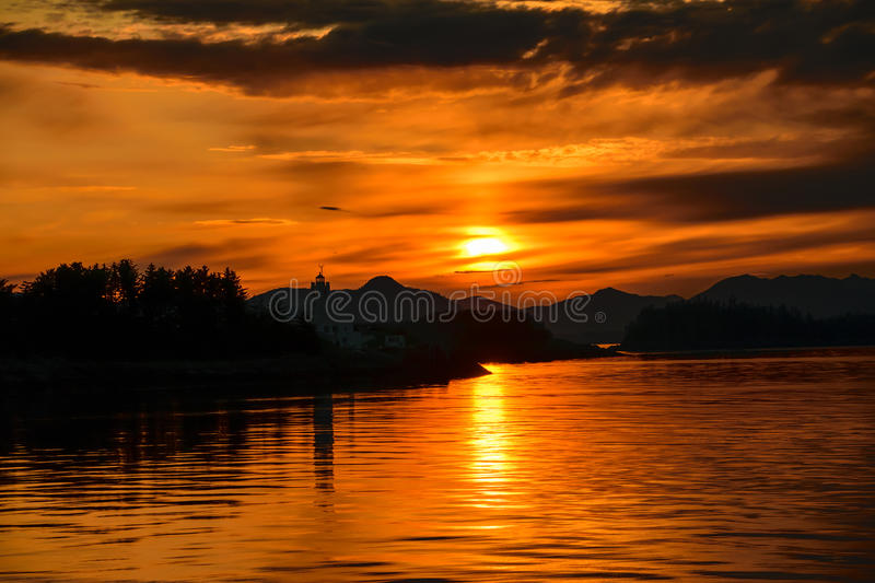 Inside passage sunset stock image