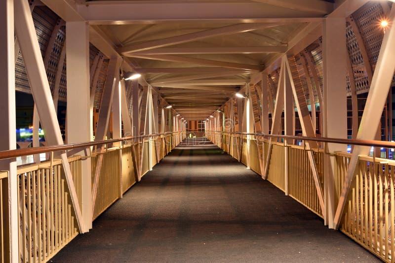 Inside Pedestrian Bridge on Dubai-Sharjah road, Dubai, United Arab Emirates.  stock image