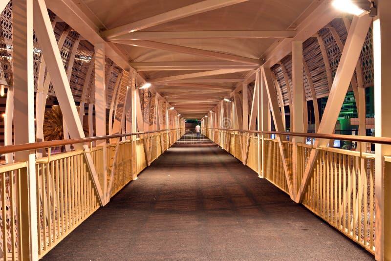 Inside Pedestrian Bridge on Dubai-Sharjah road, Dubai, United Arab Emirates.  stock images