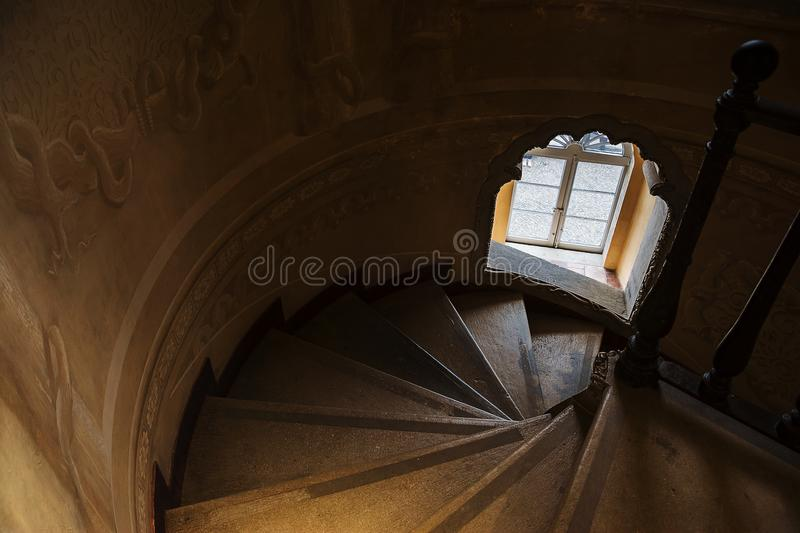 Inside of Pena Palace in Sintra, Lisbon district, Portugal. Spiral staircase . SINTRA, PORTUGAL - NOVEMBER 4, 2017 . Inside of Pena Palace in Sintra, Lisbon royalty free stock photo