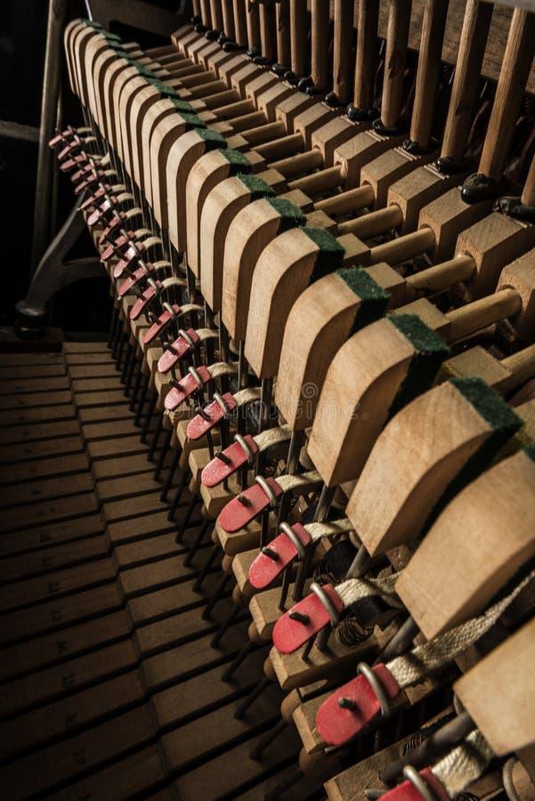 Inside a piano. Wooden parts, mechanisms closeup stock photos
