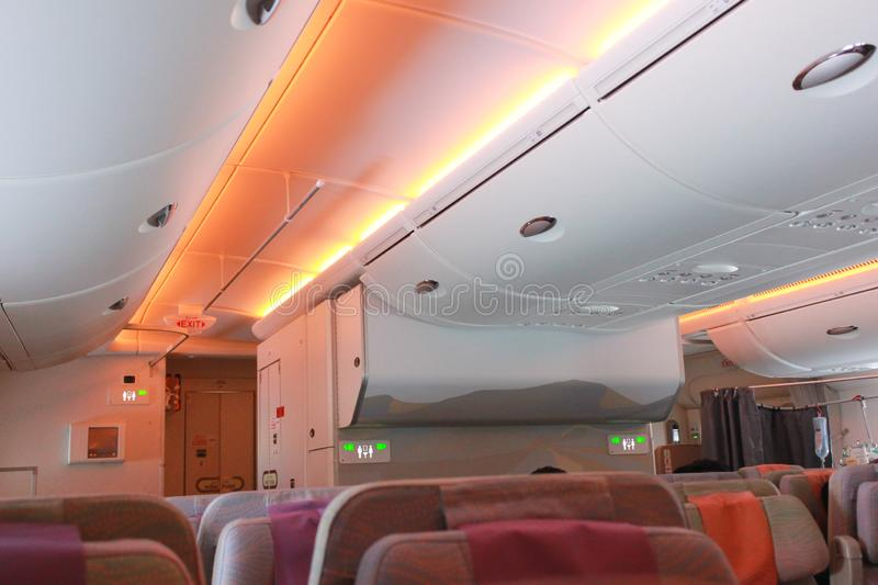Inside of plane There are various warning lights. Inside of plane There are various. warning lights stock photo