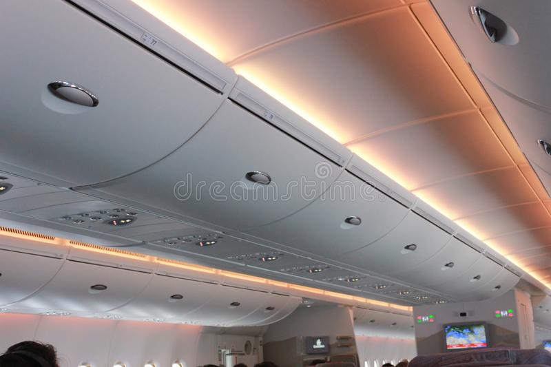Inside of plane There are various warning lights. Inside of plane There are various. warning lights stock images