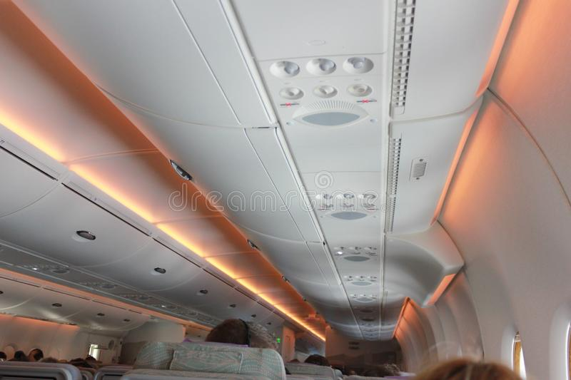 Inside of plane There are various warning lights. Inside of plane There are various. warning lights stock photos