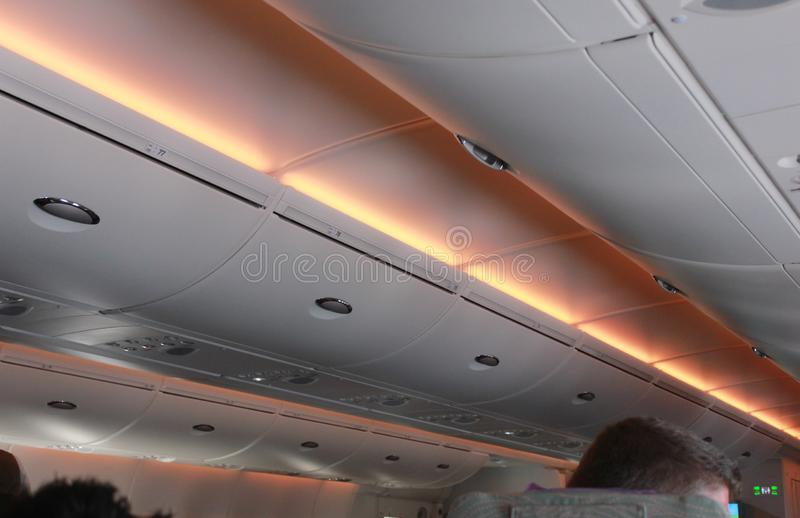 Inside of plane There are various warning lights. Inside of plane There are various. warning lights royalty free stock photos