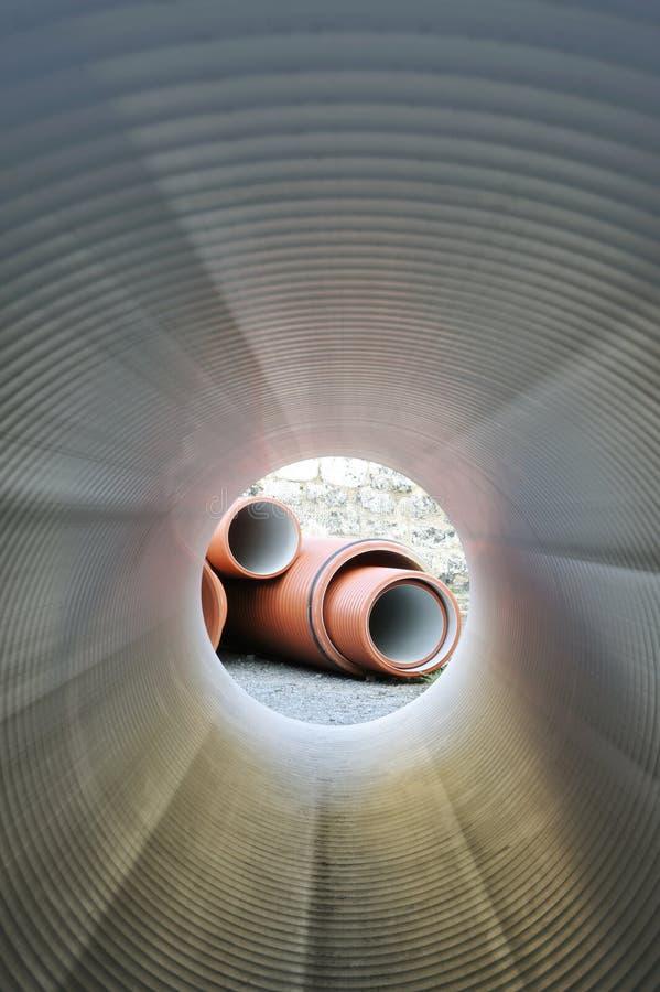 Inside of plumbing tube. An image of plumbing tube - inside view stock photography