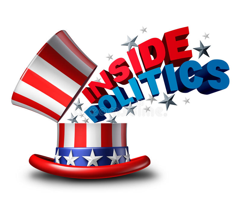 Inside Politics News. Inside politics American election and United States of America vote symbol as a USA political news insider journalism symbol as a top hat stock illustration