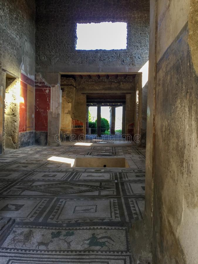 Inside a Pompeii living place royalty free stock photo
